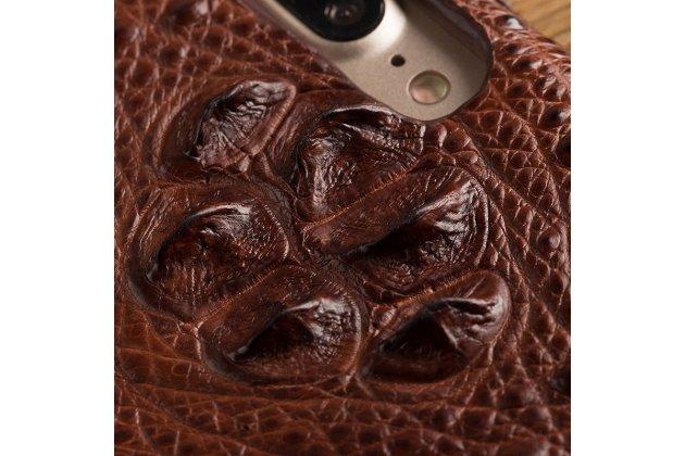 Роскошный эксклюзивный чехол-накладка с объёмным 3d изображением рельефа кожи крокодила коричневый для google pixel 2. только в нашем магазине. количество ограничено