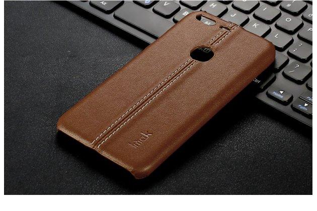 Задняя панель-крышка из тончайшего и прочного пластика обтянутая импортной кожей для google pixel xl/htc google nexus marlin m1 коричневого цвета.
