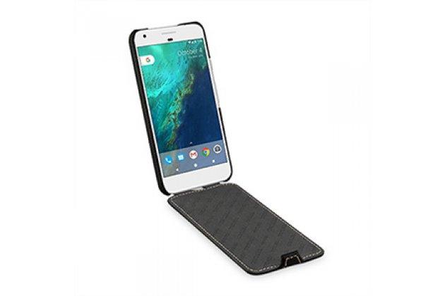 Вертикальный откидной чехол-флип для google pixel xl/htc google nexus marlin m1 черный из натуральной кожи prestige италия