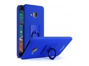 Задняя панель-крышка из тончайшего и прочного пластика для HTC U Play с матовой отделкой под карбон синего цве..