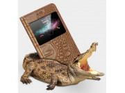 Фирменный роскошный эксклюзивный чехол с фактурной прошивкой рельефа кожи крокодила с окошком для входящих выз..