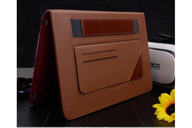 Премиальный чехол бизнес класса для ipad air 2 с визитницей из качественной импортной кожи малиновый