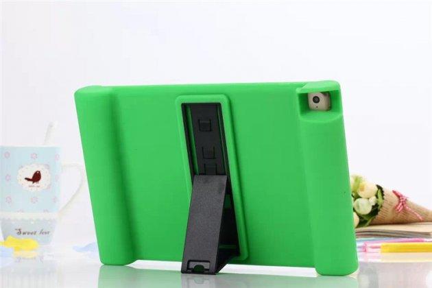 Ультра-тонкая полимерная из мягкого качественного силикона задняя панель-чехол-накладка со съемной подставкой для ipad air 2 зеленая