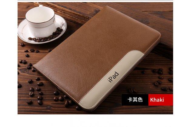 Чехол-обложка для ipad air 2 с визитницей и держателем для руки из качественной импортной кожи коричневый