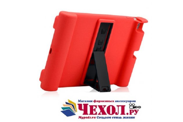 Ультра-тонкая полимерная из мягкого качественного силикона задняя панель-чехол-накладка со съемной подставкой для ipad air 2 красная