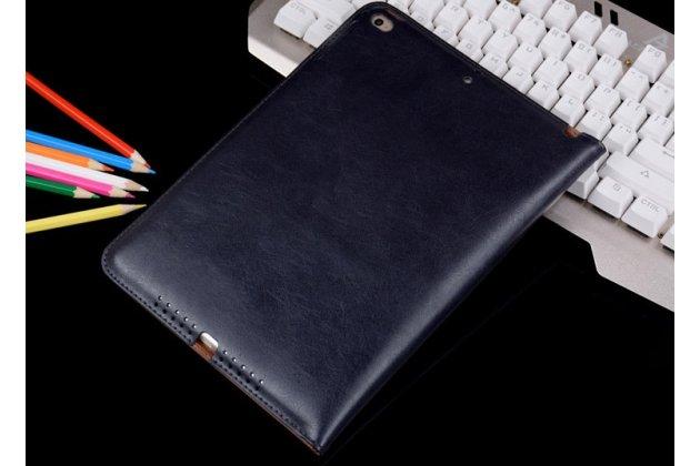 Премиальный чехол бизнес класса для ipad air 2 с визитницей из качественной импортной кожи синий