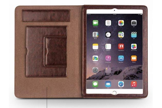 Умный элитный премиальный чехол бизнес класса для планшета ipad air 2 из качественной импортной кожи коричневый