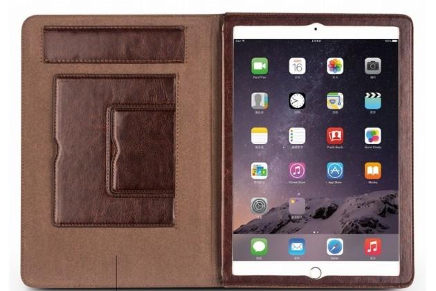 Умный качественный элитный премиальный чехол бизнес класса для планшета ipad pro 12.9 из качественной импортной кожи черный