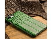 Фирменная элегантная экзотическая задняя панель-крышка с фактурной отделкой натуральной кожи крокодила зеленог..