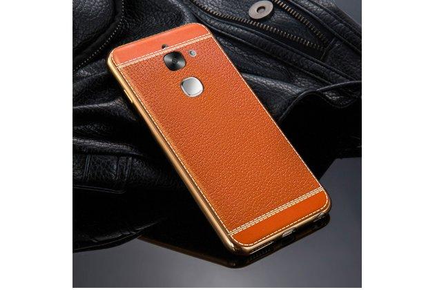 Премиальная элитная крышка-накладка на leeco (letv) le s3 ecophone 5.5 (x622 / x626) коричневая из качественного силикона с дизайном под кожу