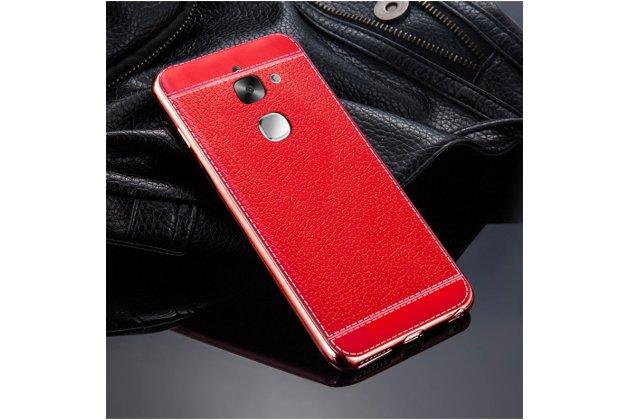 Премиальная элитная крышка-накладка на leeco (letv) le s3 ecophone 5.5 (x622 / x626) красная из качественного силикона с дизайном под кожу
