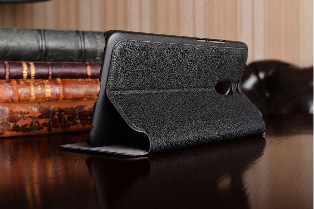 Чехол-книжка для meizu m6 note черный с окошком для входящих вызовов и свайпом водоотталкивающий