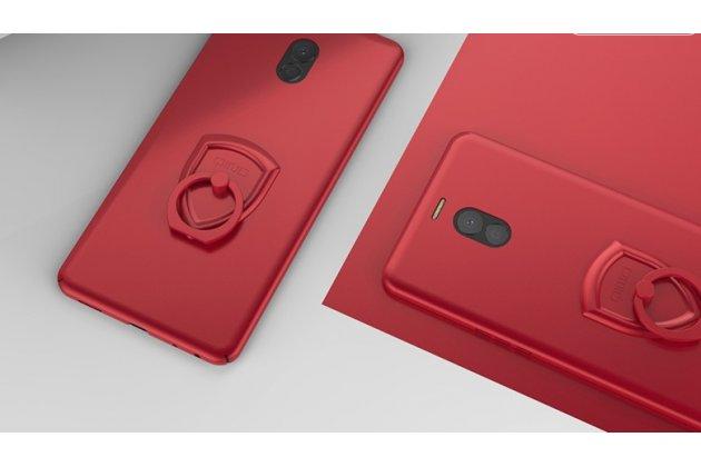 Задняя панель-крышка из прочного пластика с матовым противоскользящим покрытием для meizu m6 note с подставкой в красном цвете