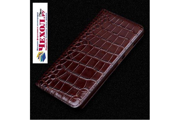 Роскошный эксклюзивный чехол с фактурной прошивкой рельефа кожи крокодила и визитницей коричневый для meizu m6 note. только в нашем магазине. количество ограничено