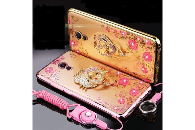 """Роскошная задняя панель-чехол-накладка из мягкого узорчатого силикона с 3d рисунком на meizu m6 note с безумно красивым держателем """"кошечка"""" золотая"""