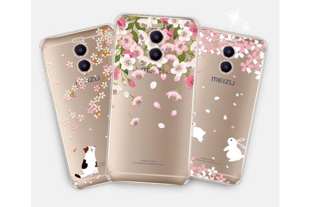 """Задняя панель-чехол-накладка из прозрачного 3d  силикона с объёмным рисунком для meizu m6 note тематика """"цветок вишни"""" которая огибает логотип чтобы была видна марка телефона"""