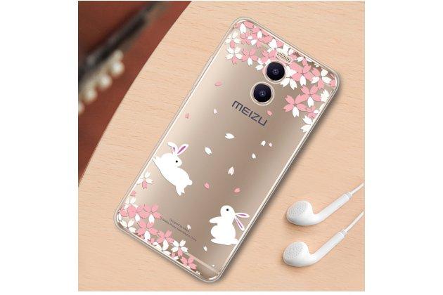 """Задняя панель-чехол-накладка из прозрачного 3d  силикона с объёмным рисунком для meizu m6 note тематика """"кролики в цветах"""" которая огибает логотип чтобы была видна марка телефона"""