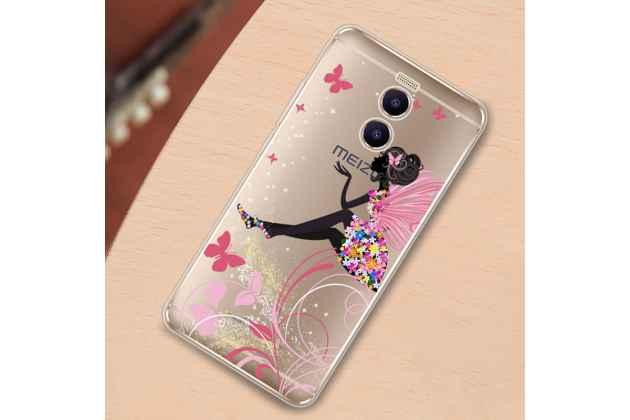 """Задняя панель-чехол-накладка из прозрачного 3d  силикона с объёмным рисунком для meizu m6 note тематика """"сказочная фея"""" которая огибает логотип чтобы была видна марка телефона"""