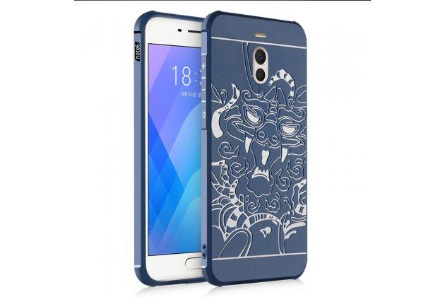 Задняя панель-крышка-накладка из тончайшего силикона для meizu m6 note с объёмным 3d рисунком тематика китайский дракон синяя
