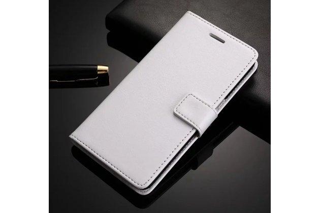 Чехол-книжка из качественной импортной кожи с подставкой застёжкой и визитницей для meizu m6 note белый