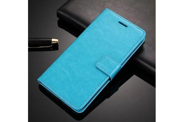 Чехол-книжка из качественной импортной кожи с подставкой застёжкой и визитницей для meizu m6 note голубой