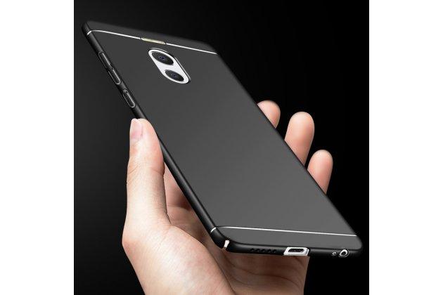 Задняя панель-крышка из прочного пластика с матовым противоскользящим покрытием для meizu m6 note  в черном цвете