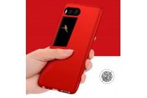 Фирменный уникальный чехол-бампер-панель с полной защитой дисплея и телефона по всем краям и углам для Meizu Pro 7 красного цвета