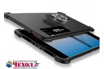 Задняя панель-крышка из мягкого качественного силикона с матовым противоскользящим покрытием для Meizu Pro 7  с подставкой в черном цвете