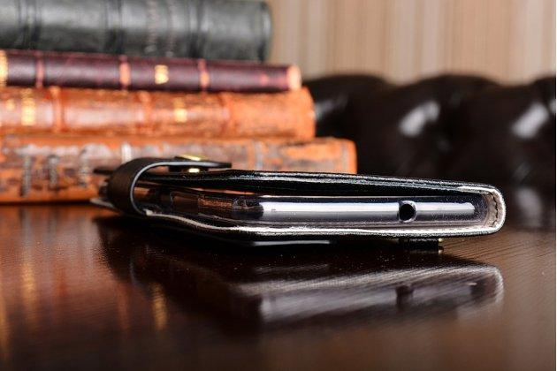 Чехол-книжка из качественной импортной кожи с мульти-подставкой застёжкой и визитницей для meizu pro 7 plus с окном для второго экрана черный