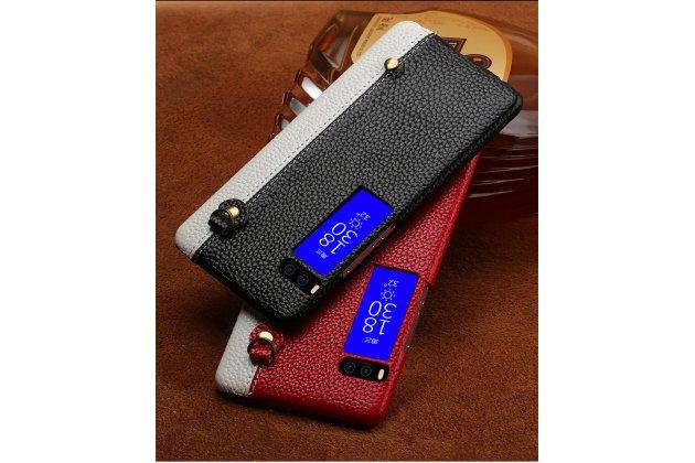 Роскошная задняя панель-крышка обтянутая импортной кожей для meizu pro 7 plus черно-белая