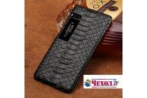 Фирменная элегантная экзотическая задняя панель-крышка с фактурной отделкой натуральной кожи змеи для Meizu Pro 7 Plus черная. Только в нашем магазине. Количество ограничено.