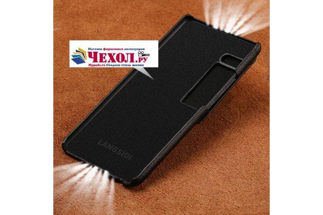 Премиальная элитная крышка-накладка из тончайшего прочного пластика и качественной импортной кожи  для meizu pro 7 plus  черная