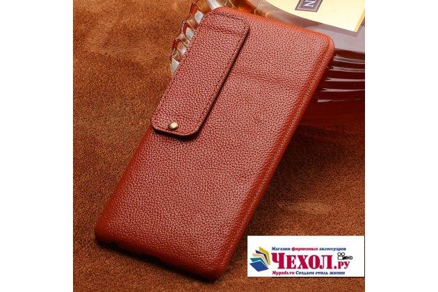 Премиальная элитная крышка-накладка из тончайшего прочного пластика и качественной импортной кожи  для meizu pro 7 plus  коричневая