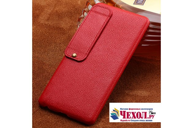 Премиальная элитная крышка-накладка из тончайшего прочного пластика и качественной импортной кожи  для meizu pro 7 plus  красная