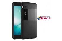 Фирменная премиальная элитная крышка-накладка на Meizu Pro 7 Plus черная из качественного силикона с дизайном под кожу