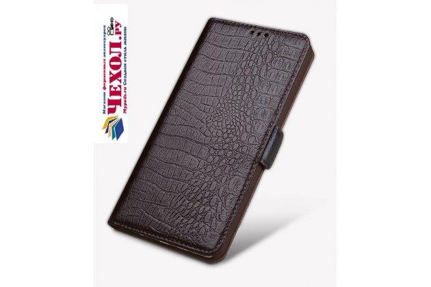 Роскошный эксклюзивный чехол с фактурной прошивкой рельефа кожи крокодила и визитницей коричневый для meizu pro 7 plus. только в нашем магазине. количество ограничено