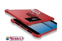 Задняя панель-крышка из мягкого качественного силикона с матовым противоскользящим покрытием для Meizu Pro 7 Plus с подставкой в красном цвете