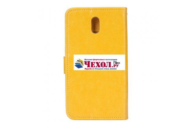 Чехол-книжка из качественной импортной кожи с подставкой застёжкой и визитницей для nokia 3 желтый