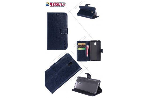 Чехол-книжка из качественной импортной кожи с подставкой застёжкой и визитницей для nokia 3 синий