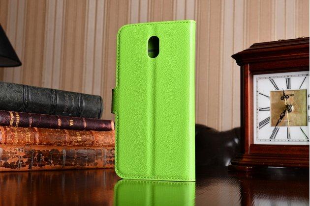 Чехол-книжка из качественной импортной кожи с подставкой застёжкой и визитницей для нокиа 3 зеленый