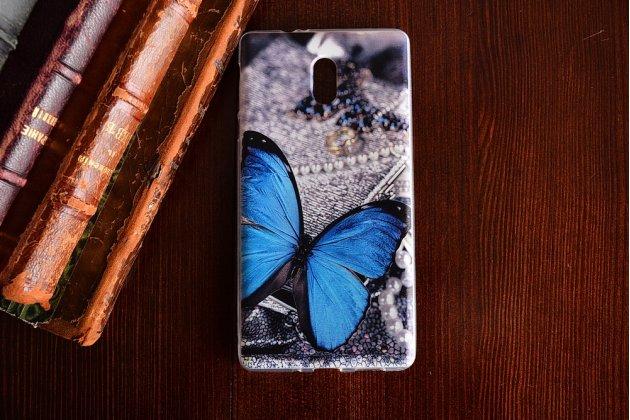 Роскошная задняя панель-чехол-накладка  из мягкого силикона с безумно красивым расписным 3d рисунком на nokia 3 тематика голубая бабочка