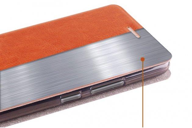 Чехол-книжка из качественной водоотталкивающей импортной кожи на жёсткой металлической основе для nokia 3 коричневый