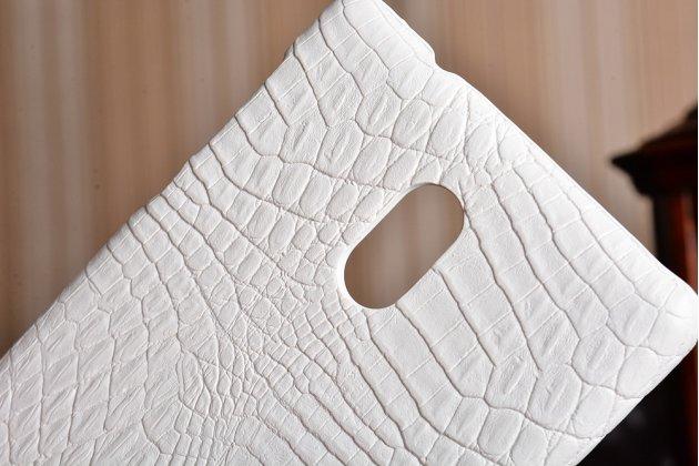 Роскошная элитная премиальная задняя панель-крышка на пластиковой основе обтянутая лаковой кожей крокодила  для nokia 3 белый