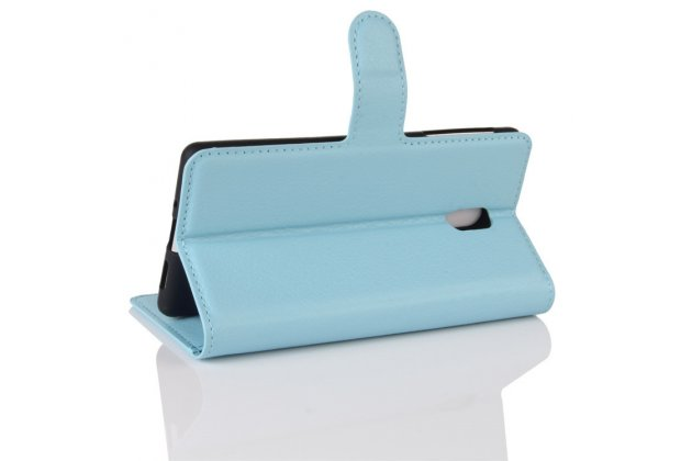 Чехол-книжка из качественной импортной кожи с подставкой застёжкой и визитницей для нокиа 3 голубой