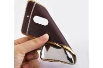 Фирменная премиальная элитная крышка-накладка на Nokia 5 коричневая из качественного силикона с дизайном под кожу
