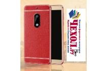 Фирменная премиальная элитная крышка-накладка на Nokia 5 красная из качественного силикона с дизайном под кожу