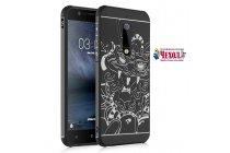 Фирменная роскошная задняя панель-чехол-накладка  из мягкого силикона с безумно красивым расписным 3D рисунком на Nokia 5 тематика Китайский дракон черная