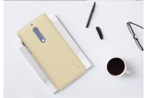 Фирменная задняя панель-крышка-накладка из тончайшего и прочного пластика для Nokia 5 золотая