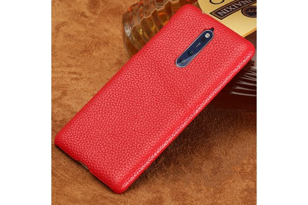 Роскошная задняя панель-крышка обтянутая импортной кожей для nokia 8 красная