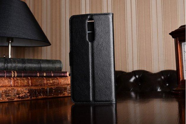 Чехол-книжка из качественной импортной кожи с подставкой застёжкой и визитницей для нокиа 8 черный
